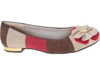 Sapatilha Feminina Dakota 4454 Trigo/choc/vermelho - Tamanho Médio