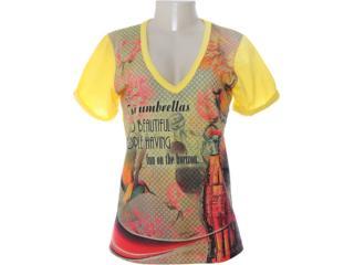 Camiseta Feminina Coca-cola Clothing 343200590 Estampado Amarelo - Tamanho Médio