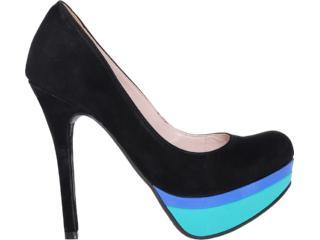 Sapato Feminino Via Marte 12-8401 Preto/azul/ciano - Tamanho Médio