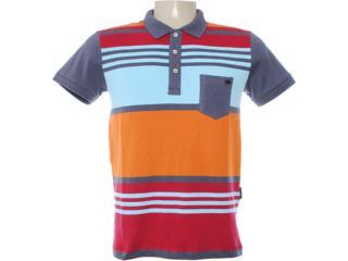 Camisa Masculina Dopping 015462512 Azul/vermelho/laranja - Tamanho Médio