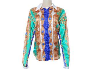 Camisa Feminina Moikana 7163 Verde Estampado - Tamanho Médio