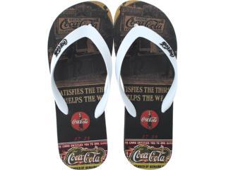 Chinelo Masculino Coca-cola Shoes Cc0254 Preto/branco - Tamanho Médio