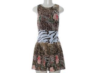 Vestido Feminino Moikana 8054 Preto Estampado - Tamanho Médio