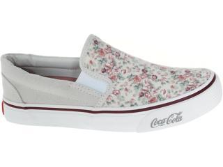Tênis Feminino Coca-cola Shoes Cc0141 Floral Bege/bordo - Tamanho Médio