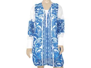 Vestido Feminino Intuição 122631 Branco/azul - Tamanho Médio
