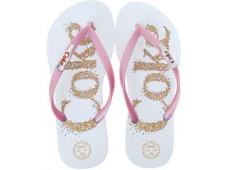 Chinelo Feminino Coca-cola Shoes Cc0199 Branco/rosa/metal - Tamanho Médio