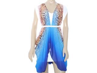 Vestido Feminino Moikana 8027 Branco/azul - Tamanho Médio