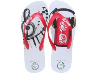 Chinelo Masculino Coca-cola Shoes Cc0255 Branco/vermelho - Tamanho Médio