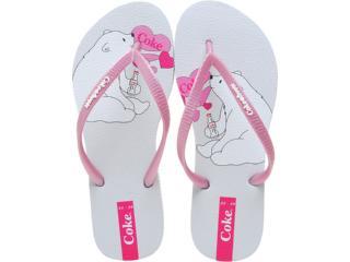 Chinelo Feminino Coca-cola Shoes Cc0192 Branco/rosa - Tamanho Médio