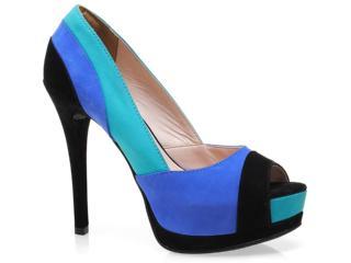 Peep Toe Feminino Via Marte 12-8601 Preto/azul/ciano - Tamanho Médio