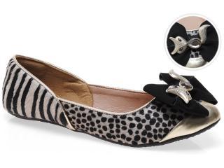 Sapatilha Feminina Tanara 4122 Champagne/guepardo/zebra Preto - Tamanho Médio