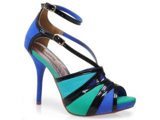 Sandália Feminina Via Marte 12-16001 Azul/verde/ciano/pto - Tamanho Médio
