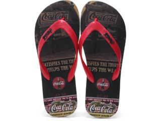 Chinelo Masculino Coca-cola Shoes Cc0254 Preto/vermelho - Tamanho Médio