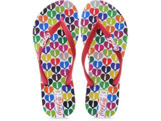 Chinelo Feminino Coca-cola Shoes Cc0181 Branco/vermelho - Tamanho Médio