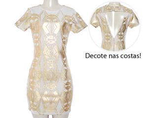 Vestido Feminino Moikana 8079 Areia/dourado - Tamanho Médio