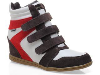 Sneaker Feminino Kolosh C0091 Café/fibra/vermel - Tamanho Médio