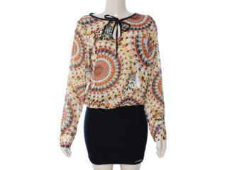 Vestido Feminino Meia Loka 3136 Estampado/preto - Tamanho Médio