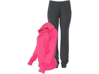 Abrigo Feminino Nike 521879-603 Classic Jersey Com Capuz Pink/chumbo - Tamanho Médio