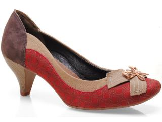 Sapato Feminino Dakota 4321 Vermelho/café - Tamanho Médio