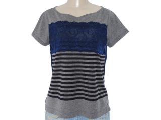Camiseta Feminina Checklist 19.10.5786 Marinho/cinza - Tamanho Médio