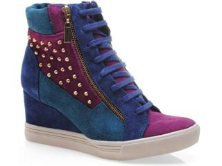 Sneaker Feminino Via Marte 13-3906 Marinho/purpura/petróleo - Tamanho Médio