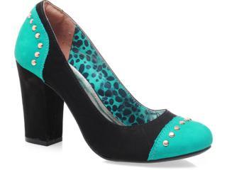 Sapato Feminino Via Marte 13-1802 Preto/esmeralda - Tamanho Médio