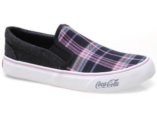 Tênis Feminino Coca-cola Shoes Cc0100 Xadrez Pto/pink - Tamanho Médio