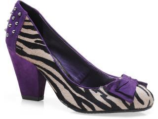 Sapato Feminino Via Marte 13-3005 Zebra/roxo - Tamanho Médio