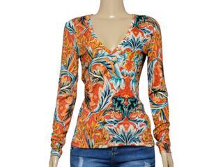 Blusa Feminina Colcci 360111582 Laranja/azul Estampado - Tamanho Médio