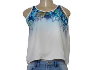 Blusa Feminina Dopping 015668513 Branco Estampado - Tamanho Médio