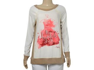 Blusa Feminina Dopping 015664075 Off White Estampado Rosa - Tamanho Médio
