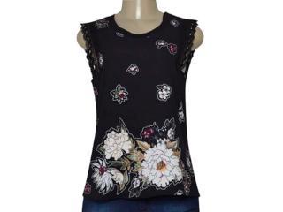 Blusa Feminina Miose 12700 Preto Floral - Tamanho Médio