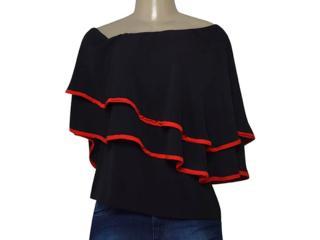 Blusa Feminina Morena Rosa 106103 Preto/vermelho - Tamanho Médio