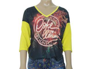Blusa Feminina Coca-cola Clothing 343200772 Estampado Amarelo - Tamanho Médio