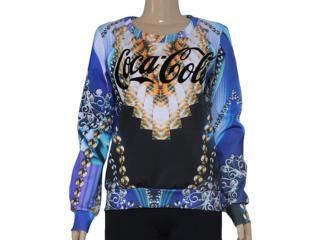 Blusão Feminino Coca-cola Clothing 403200223 Estampado Preto/azul - Tamanho Médio