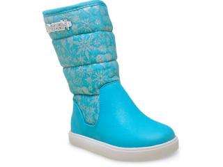 Bota Fem Infantil Grendene 21447 Disney Frozen Azul/branco - Tamanho Médio