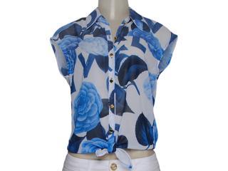 Camisa Feminina Dopping 011857501 Branco/azul - Tamanho Médio
