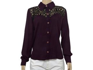Camisa Feminina Moikana 15181 Vinho/preto - Tamanho Médio
