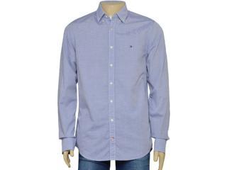 Camisa Masculina Tommy Th0887889489 Listrado Azul/branco - Tamanho Médio