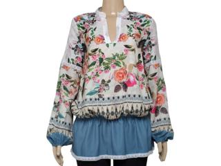 Camisa Feminina Triton 301400634 Off White/floral - Tamanho Médio