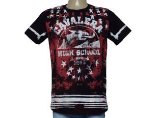 Camiseta Masculina Cavalera Clothing 01.01.9917 Preto/vermelho - Tamanho Médio