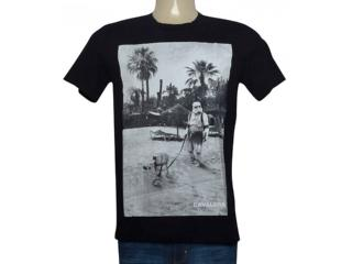 Camiseta Masculina Cavalera Clothing 01.01.9702 Preto/branco - Tamanho Médio