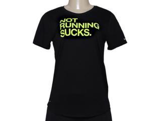 Camiseta Feminina Nike 696726-010 Run p Not Preto/limão - Tamanho Médio