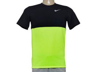 Camiseta Masculina Nike 644396-702 Racer ss   Preto/limão - Tamanho Médio