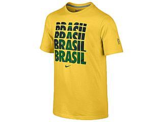 Camiseta Masculina Nike 588231-703 Cbf Core Type Tee Amarelo - Tamanho Médio