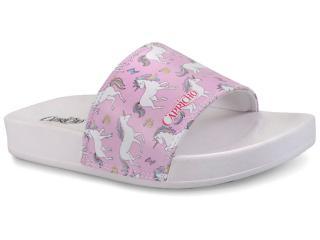 Chinelo Feminino Capricho Cp3080 Slide Unicornio Branco/rosa - Tamanho Médio