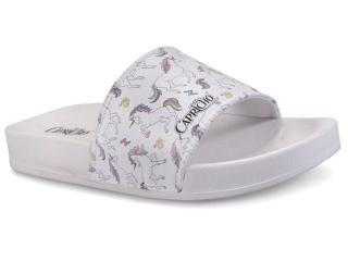 Chinelo Feminino Capricho Cp3080 Slide Unicornio Branco - Tamanho Médio