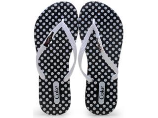 Chinelo Feminino Coca-cola Shoes Cc2019 Preto/branco - Tamanho Médio