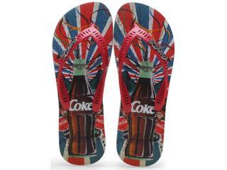 Chinelo Masculino Coca-cola Shoes Cc0638 Cinza/vermelho - Tamanho Médio