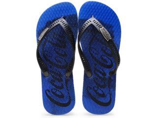 Chinelo Masculino Coca-cola Shoes Cc2018 Azul/preto - Tamanho Médio